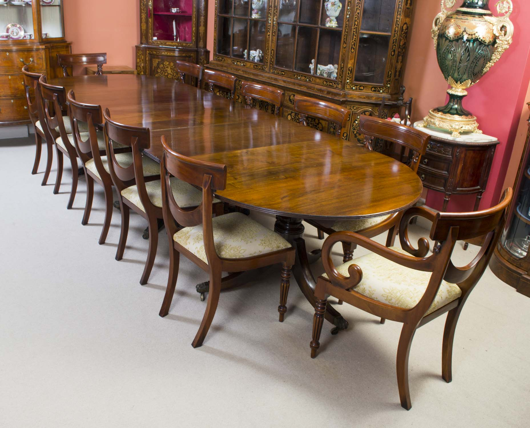 12 Chairs Antique Regency Mahogany Dining Table C1920 And 12 Chairs
