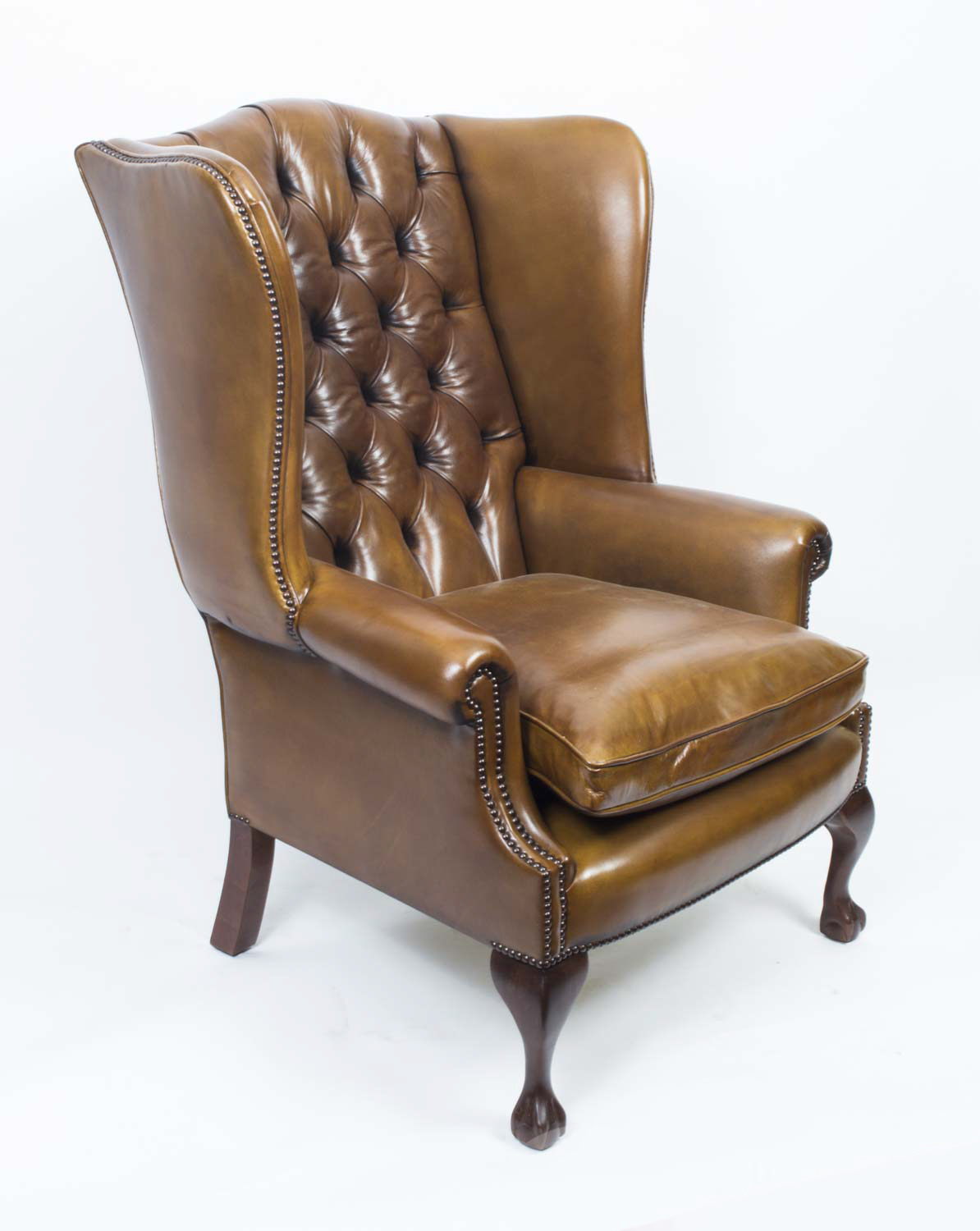 Leather Wing Back Chair Leather Chippendale Wing Back Chair Armchair Yellow Tan