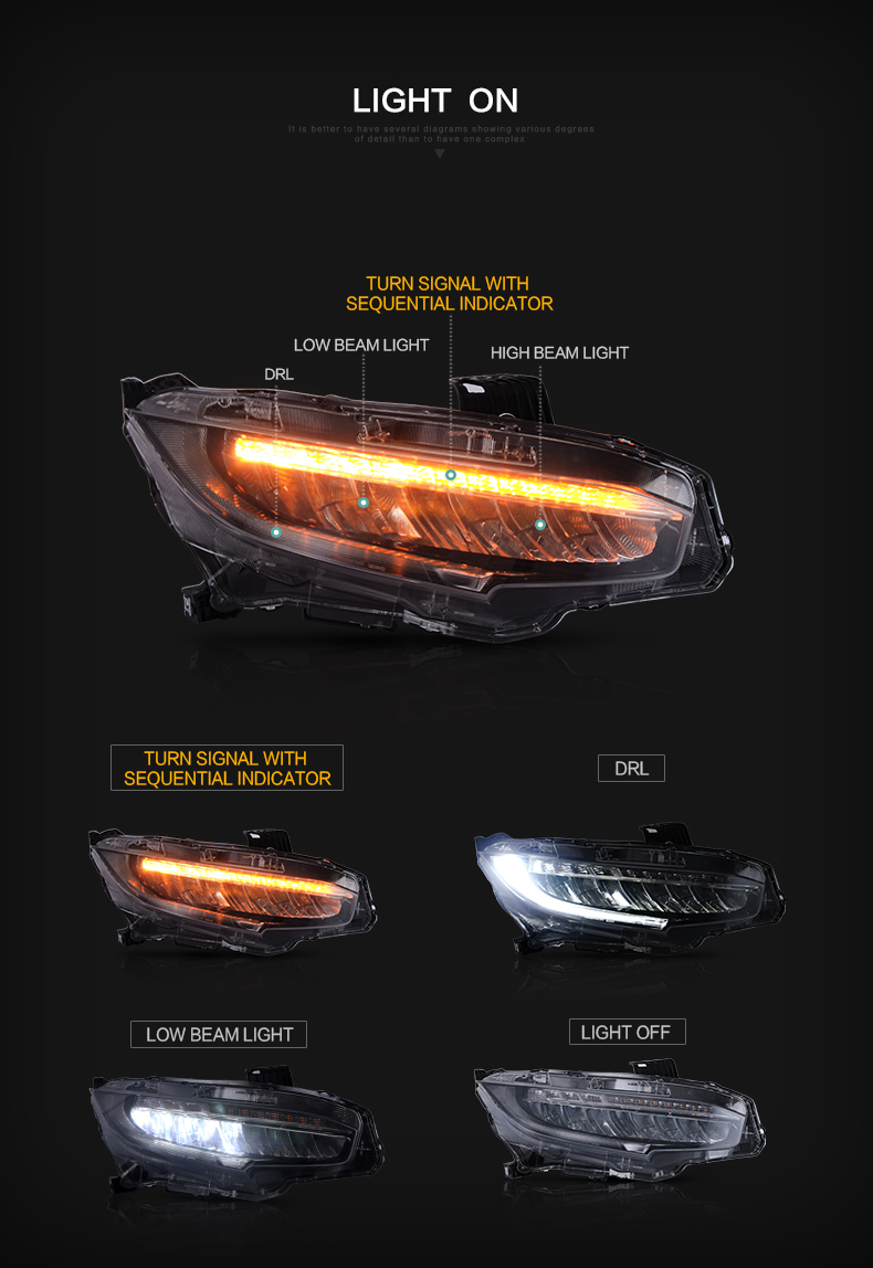 honda civic headlight head light lamp headlamp