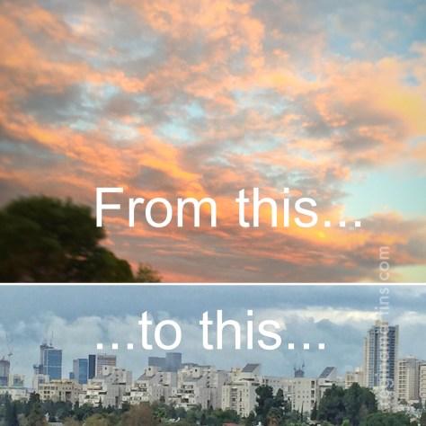 Vibrant Joburg summer sunset to Tel Aviv rainy skies on 9 hours ©2016 Regina Martins