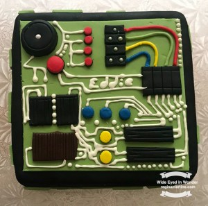 Yummy fun electrical circuit board birthday cake