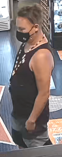 The male suspect was described as lighter skinned, black and grey shorts, black muscle shirt, a beaded keychain around his neck, black slide sandals, black COVID mask, light brown hair and a Mohawk style hair with buzzed sides.
