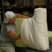 Replacing the old foam with flame retardant free foam at Foam Order in San Francisco. Foam Order is one of five furniture retailers participating in the Safer Sofa Foam Exchange.