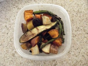 In my dish: Chopped and roasted zucchini, sweet potato, squash and asparagus. And a bit of potato.