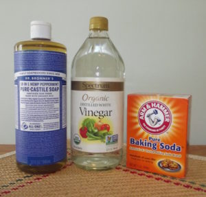 You can find Dr. Bronner's soaps in Target, along with most natural grocery stores. And Spectrum Organic White Vinegar in most natural grocery stores in the U.S. And baking soda in any baking aisle, of course.