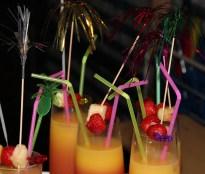 Tablett Longdrinks mit Früchtegarnitur