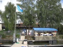 Regioboot Sitzplatz mit Fahnenmast,,