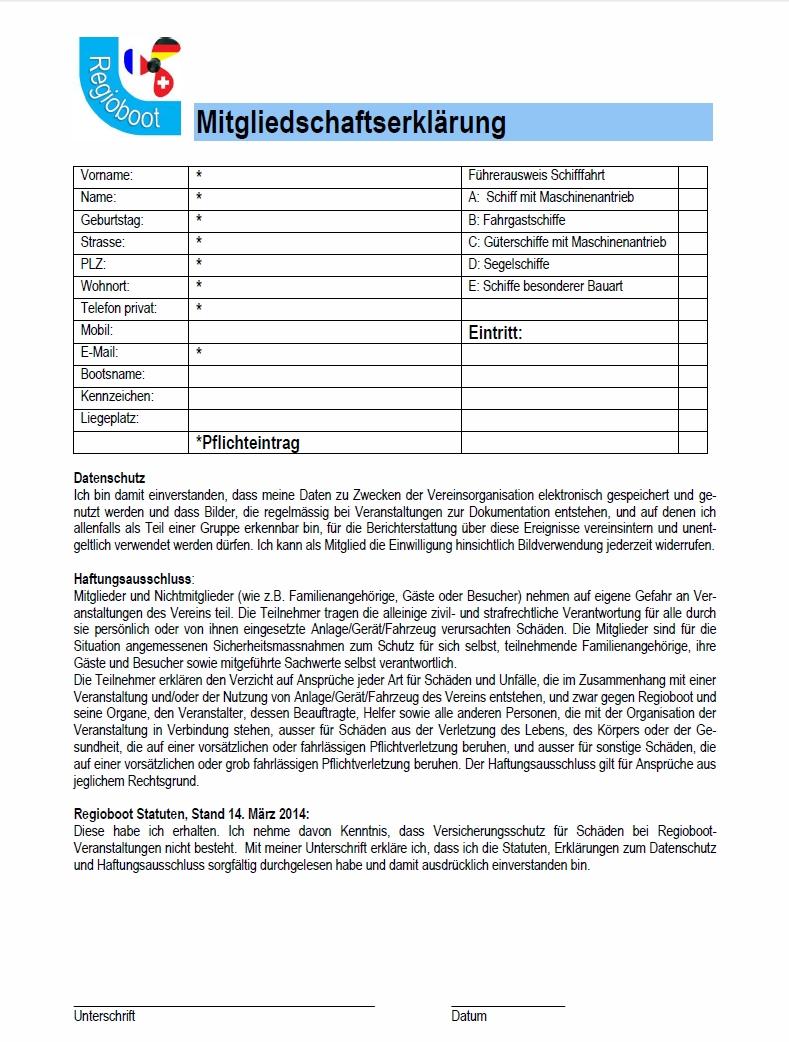 Beitrittserklärung mit Datenschutz + Haftungsausschluss