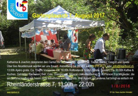 Gartenfest mit Fähnchen geschmücktem weissem Partyzelt 3x6m. Zubereitung im Vordergrund