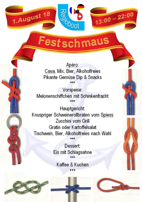 Menu Gartenfest Nationalfeier 2018