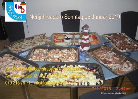 Einladung Neujahrsapéro 2019; Hintergrundmotiv 8 Platten Snacks