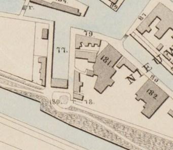 Uitsnede van de kaart van Alkmaar van Hermanus Coster uit 1865 met de nog open Keetkolk.