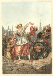 Jongelui dagen de Spaanse soldaten uit