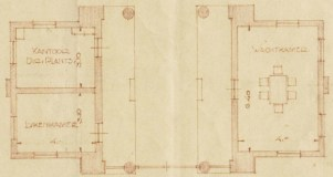 Detail uit een vergrotingsontwerptekening uit 1936 laat ook de bestaande situatie van het poortgebouw zien. In de lijkenkamer werden autopsies gedaan. Licentie CC-BY. Collectie Regionaal Archief Alkmaar