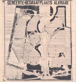 Plattegrond van de Algemene Begraafplaats uit de jaren '70. Bron: Algemene Begraafplaats Alkmaar
