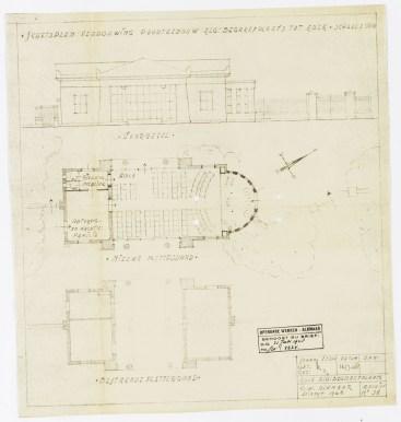 Ontwerptekening voor de verbouwing van het poortgebouw. 1948. Catalogusnummer: pr1005598. Licentie: CC-BY. Collectie Regionaal Archief Alkmaar