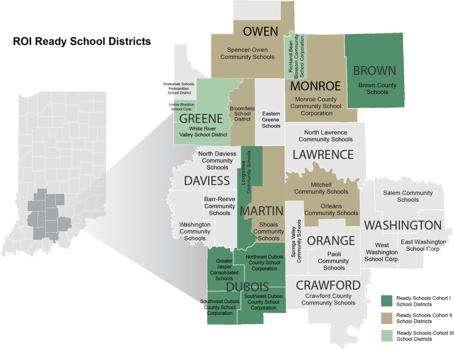 Map showing Indiana Uplands school districts participating in Ready Schools, colored according to cohort.