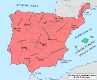 Organización territorial de los visigodos, en la que respetaron las provincias romanas pero además crearon nuevas demarcaciones