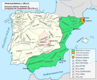 La Turdetania dentro de la Hispania Ulterior de Roma, mientras que la Beturia se mantendría independiente más tiempo