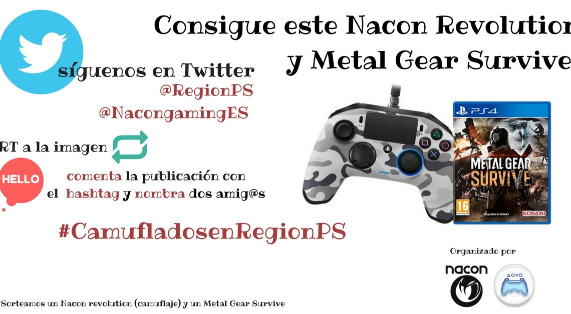 ¡Sorteamos un mando de Nacon Revolution para PS4 y una copia de Metal Gear Survive!