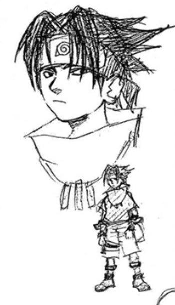 Se recupera uno de los primeros bocetos de Sasuke