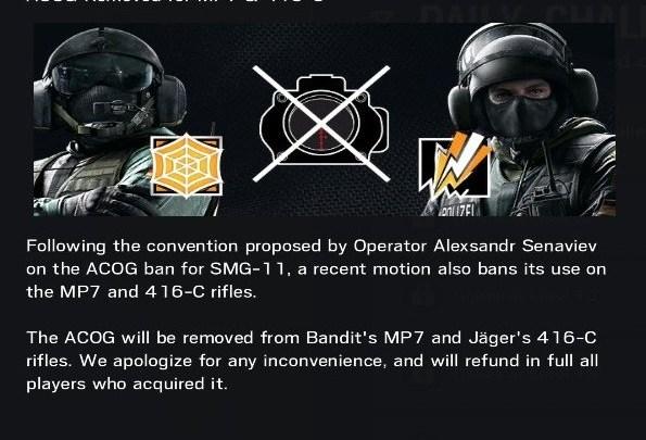 Rainbow Six Siege | Desaparece la mira ACOG para Bandit y Jäger