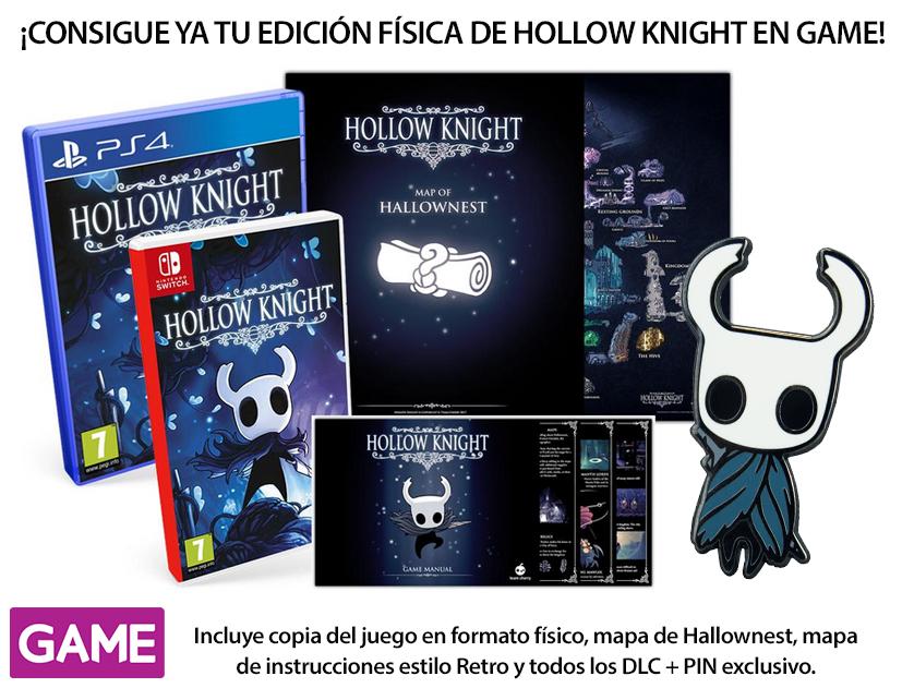 Llévate un pin exclusivo al reservar la edición física de Hollow Knight en GAME