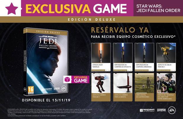 GAME revela el contenido de la exclusiva Edición Deluxe de Star Wars Jedi: Fallen Order y sus incentivos