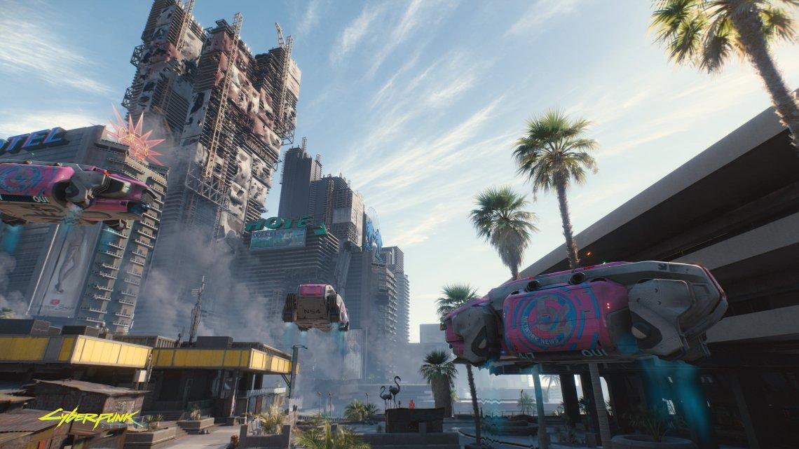 Así de espectaculares lucen los enormes edificios de Cyberpunk 2077