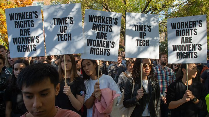 Employees of Google protest over the mistreatment of women in tech