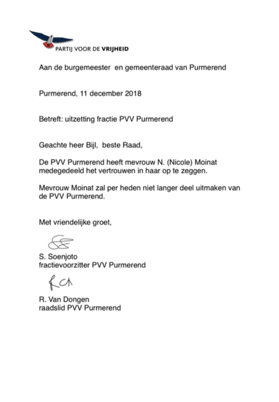 Brief PVV Purmerend