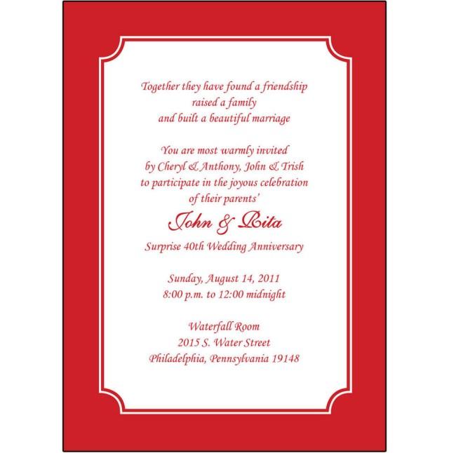 40Th Wedding Anniversary Invitations 25 Personalized 40th Wedding Anniversary Party Invitations Ap 003