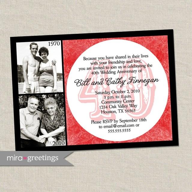 40Th Wedding Anniversary Invitations 40th Anniversary Invitation Ru Red Wedding Anniversary Etsy
