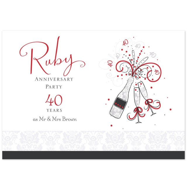 40Th Wedding Anniversary Invitations 40th Wedding Anniversary Party Invitations Wedding Party Decoration