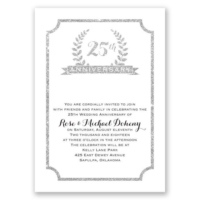 50Th Wedding Anniversary Invitations 25th Crest Faux Glitter Anniversary Invitation Invitations Dawn