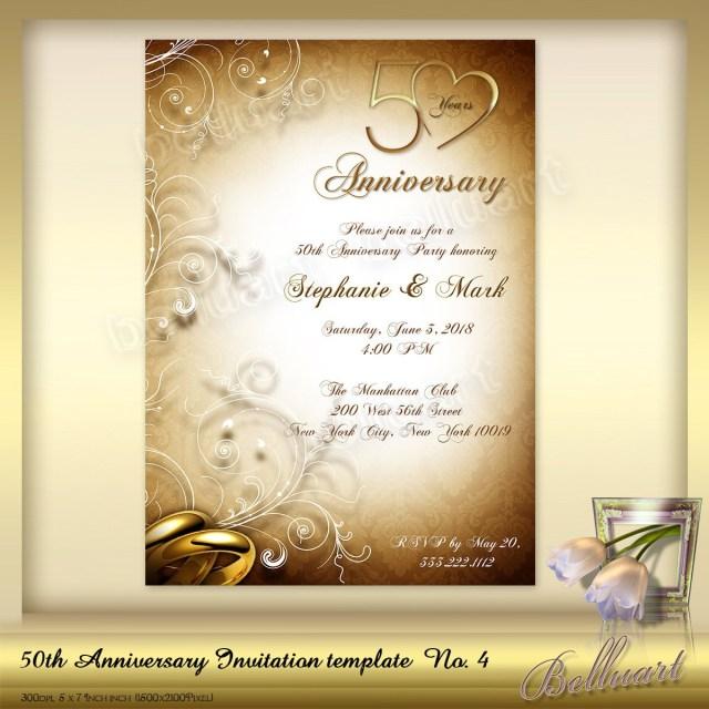 50Th Wedding Anniversary Invitations 50th Anniversary Invitation Template No4 Golden Wedding Etsy