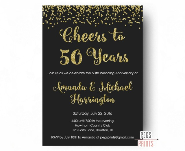 50Th Wedding Anniversary Invitations Cheers To 50 Years Invitation 50th Anniversary Invitation Etsy