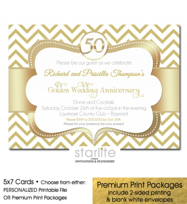 50Th Wedding Anniversary Invitations Gold Chevron 50th Wedding Anniversary Invitation Ba Shower