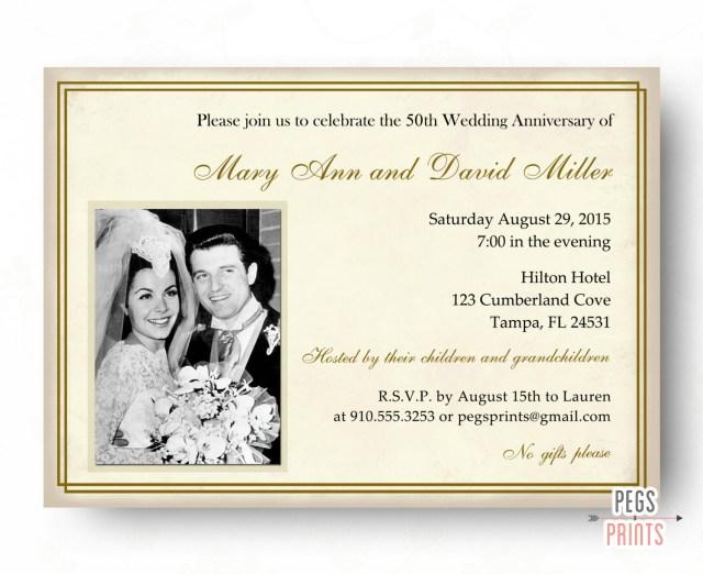 50Th Wedding Invitations 50th Wedding Anniversary Invitations 50th Anniversary Etsy