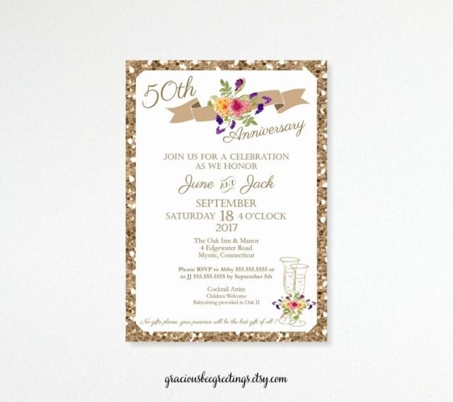 50Th Wedding Invitations 50th Wedding Anniversary Invitations No Gifts Please Stmarysmalaga