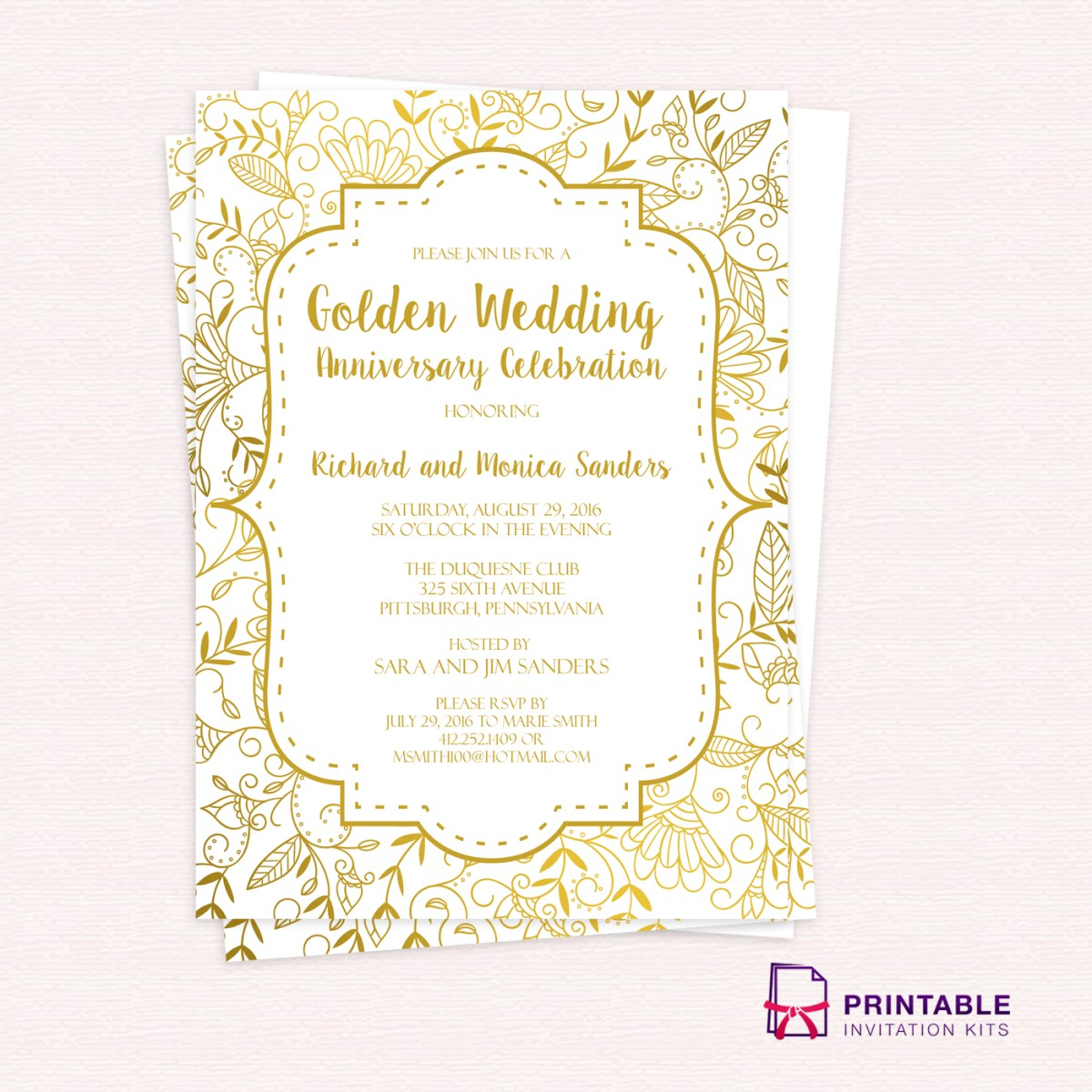 50Th Wedding Invitations Golden Wedding Anniversary Invitation Template 50th Wedding