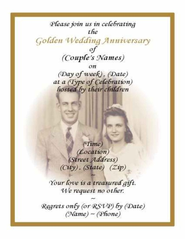 50Th Wedding Invitations Printable 50th Wedding Anniversary Invitations With Pic Background