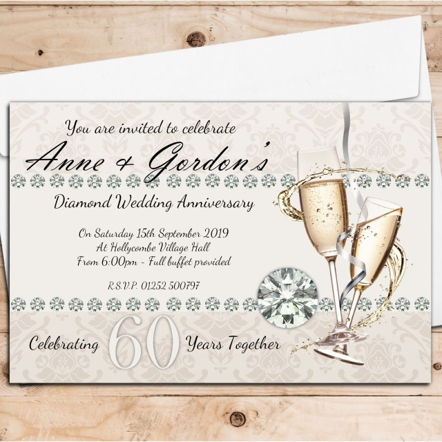 60Th Wedding Anniversary Invitations 10 Personalised 60th Diamond Wedding Anniversary Invitations N18
