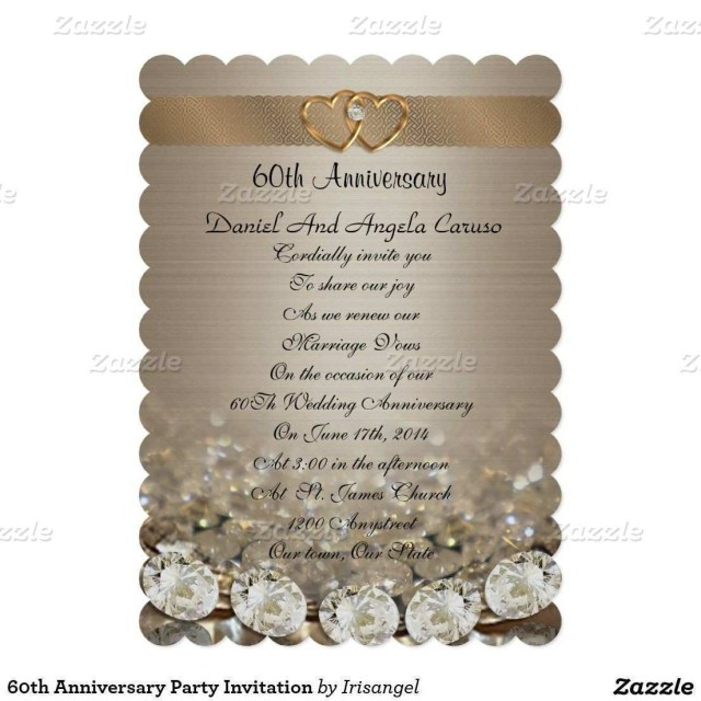 60Th Wedding Anniversary Invitations Anniversary Invitation Wording Elegant 60th Anniversary Party