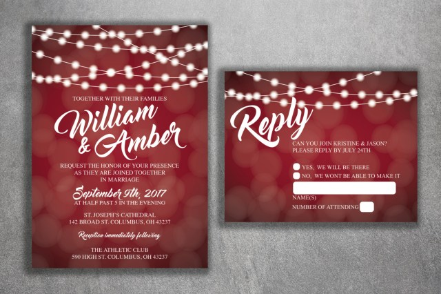 Affordable Wedding Invitations Red And White Lights Wedding Invitations Set Printed Cheap Wedding