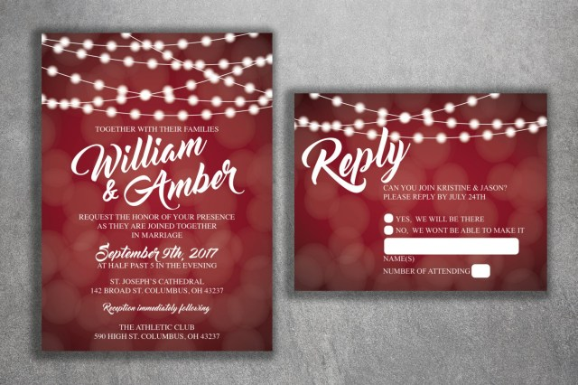 Affordable Wedding Invites Red And White Lights Wedding Invitations Set Printed Cheap Wedding