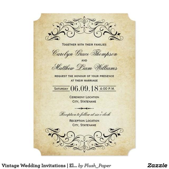 Antique Wedding Invitations Vintage Wedding Invitations Elegant Flourish In 2018 Wedding