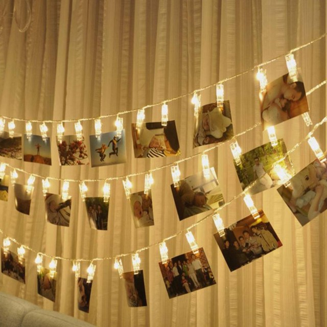 Bar Wedding Decor 1020 Led 153m Creative Photo Clip String Lights Home Bar Wedding