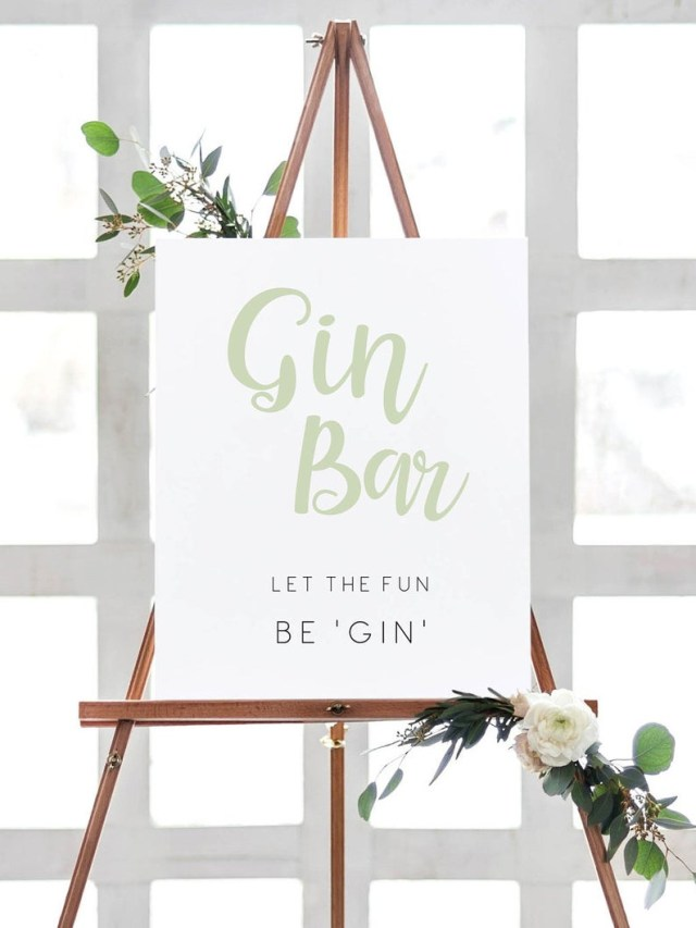 Bar Wedding Decor Bridal Shower Table Decor Gin Bar Sign Wedding Decor Sign Gin Etsy