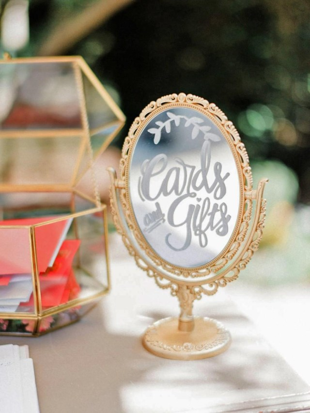 Bar Wedding Decor Handmade Metallic Gold Vanity Double Sided Table Mirror Wedding